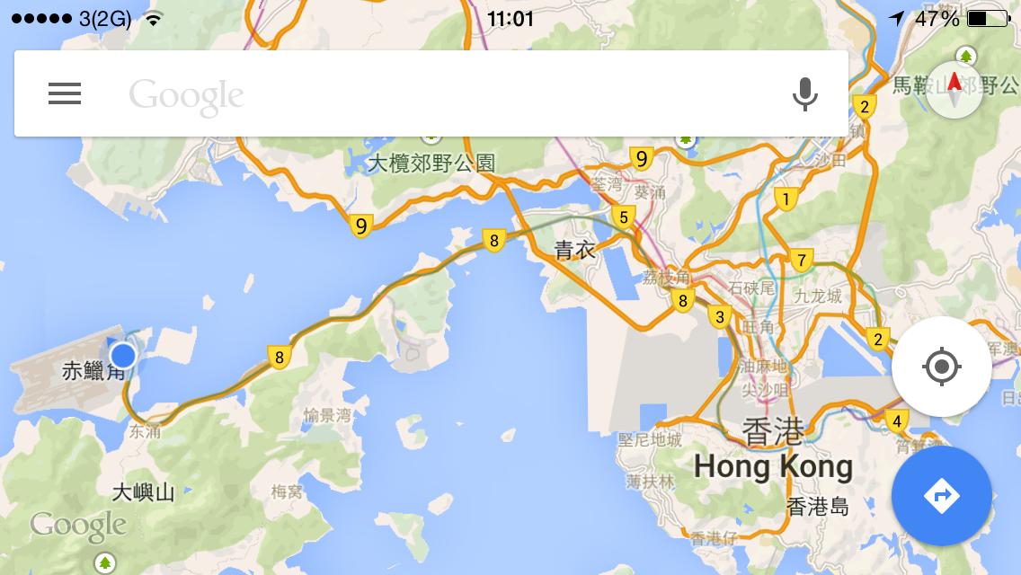 时隔五年半后再入香港, 地图截个纪念