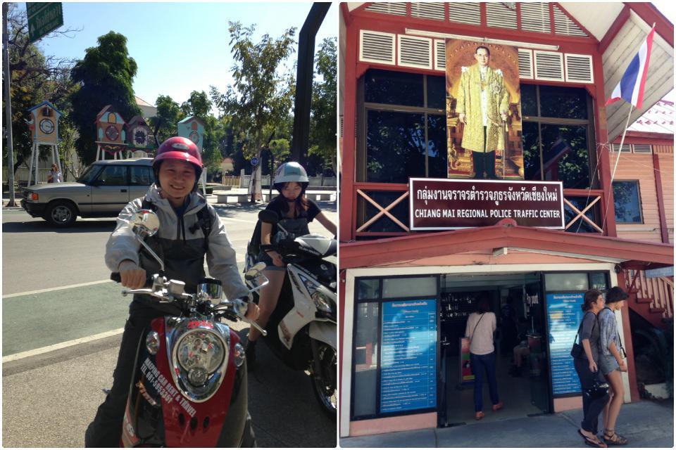 清迈租骑摩托, 和没多久就被抓去的交警队