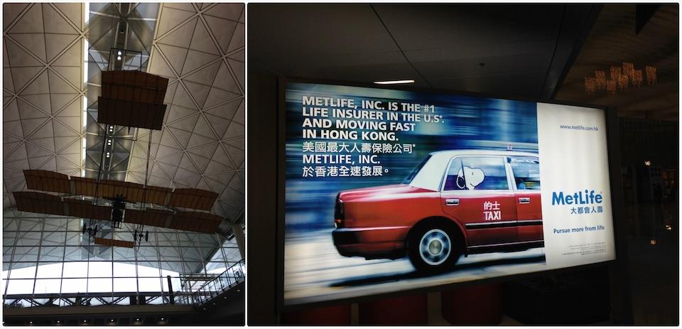 香港机场出口挂的飞机, 偶遇有 snoopy 的广告牌